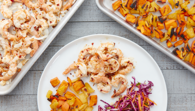 Coconut Lime Shrimp with Roasted Sweet Potatoes and Asian Slaw